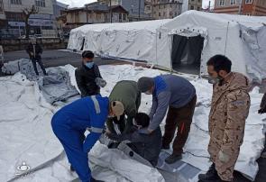 فیلم | مراحل آمادهسازی بیمارستان صحرایی در رشت