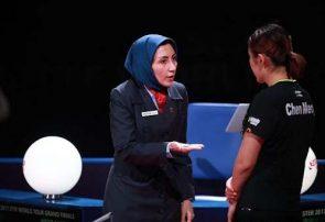 سیمین رضایی داور اولین روز مسابقات تنیس روی میز